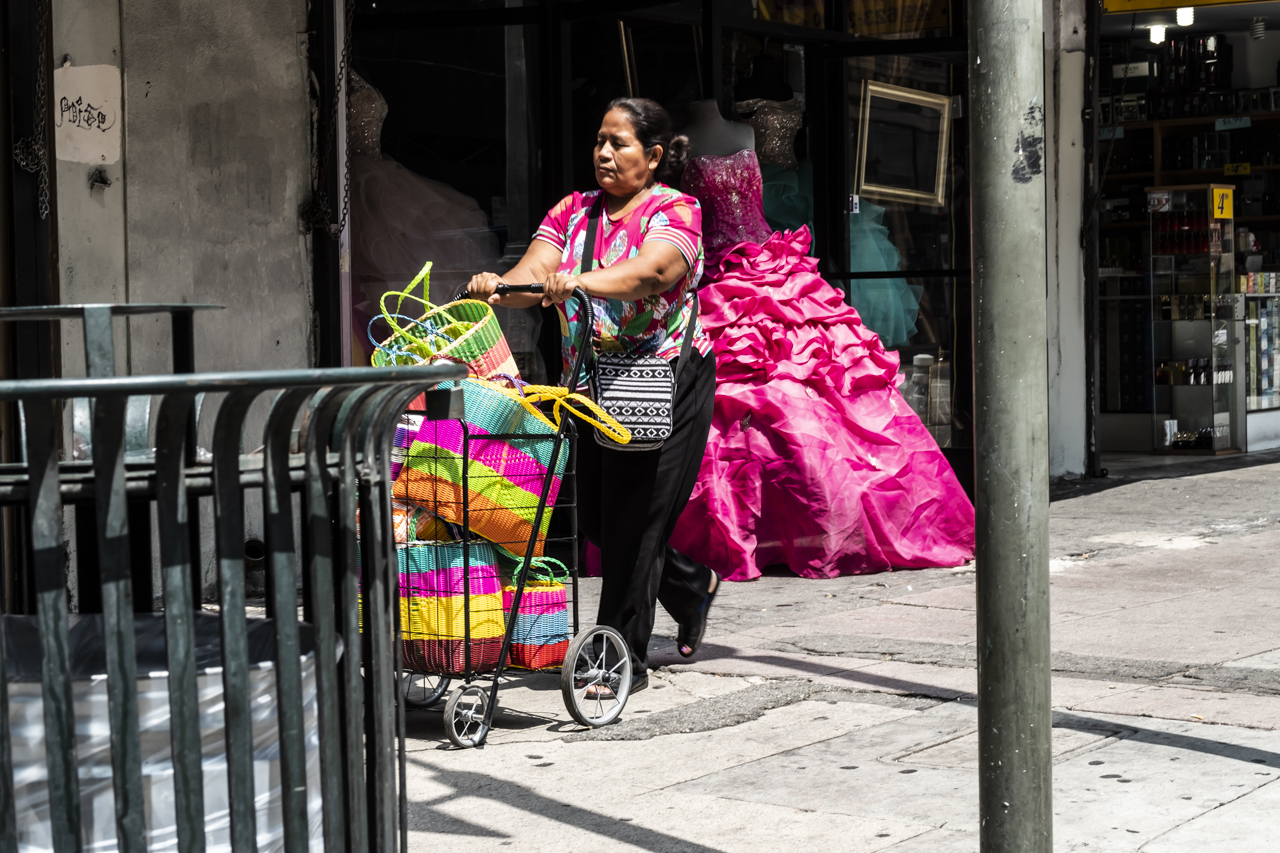 Señora pasea por Los Ángeles