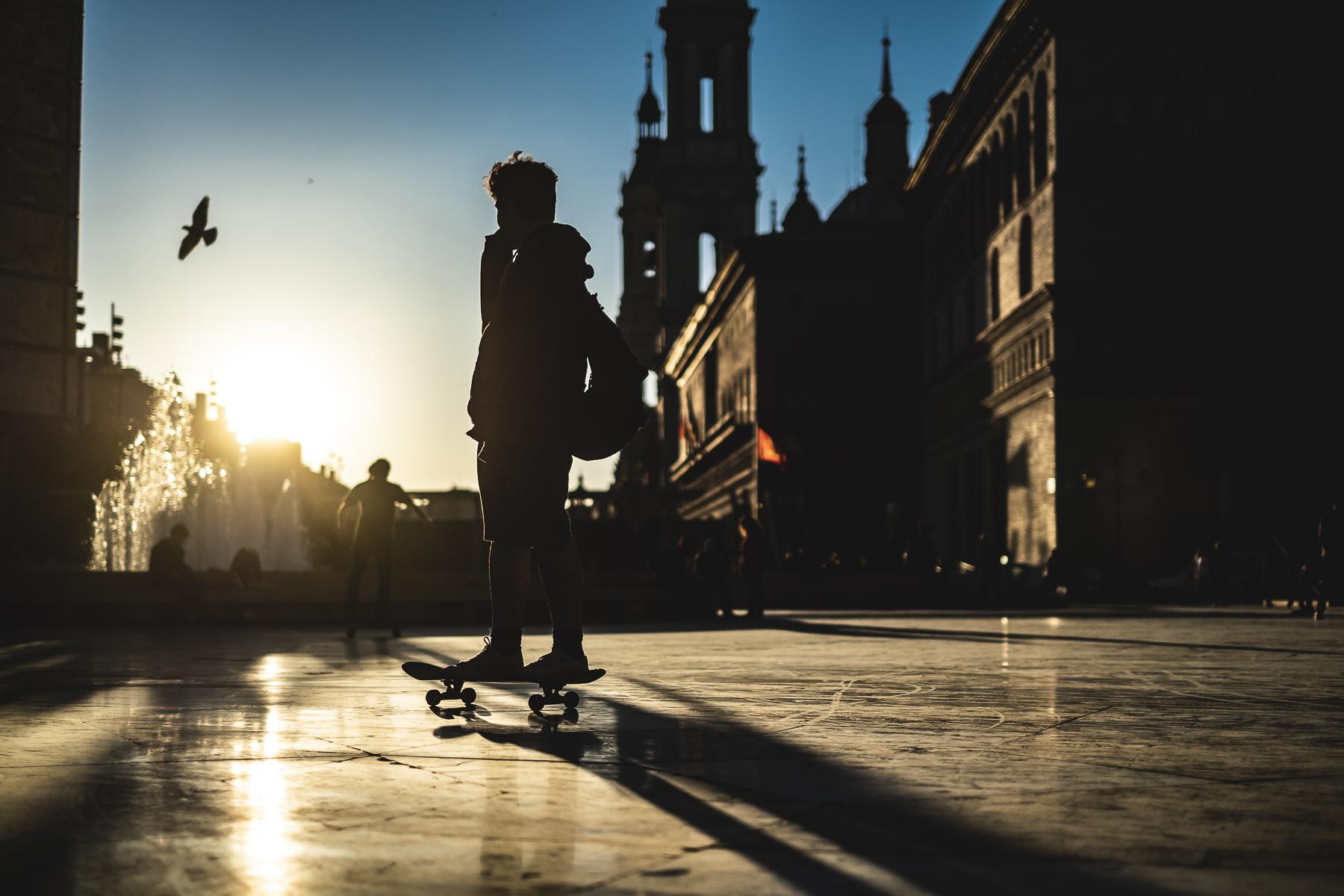 Skater en Plaza del Pilar